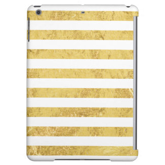 Elegant Gold Foil and White Stripe Pattern Cover For iPad Air