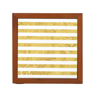 Elegant Gold Foil and White Stripe Pattern Desk Organizer