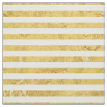 Elegant Gold Foil and White Stripe Pattern Fabric