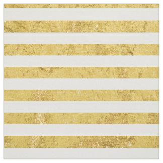 Elegant Gold Foil and White Stripe Pattern Fabric