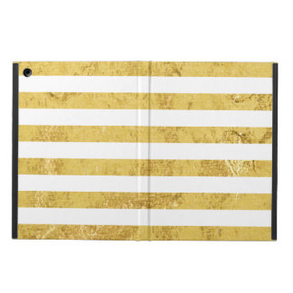 Elegant Gold Foil and White Stripe Pattern iPad Air Cover