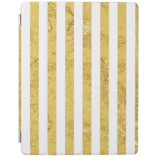 Elegant Gold Foil and White Stripe Pattern iPad Cover