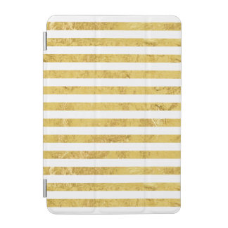 Elegant Gold Foil and White Stripe Pattern iPad Mini Cover