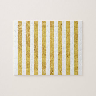 Elegant Gold Foil and White Stripe Pattern Jigsaw Puzzle