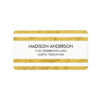 Elegant Gold Foil and White Stripe Pattern Label