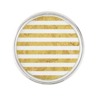 Elegant Gold Foil and White Stripe Pattern Lapel Pin