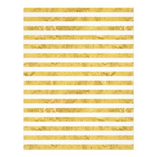 Elegant Gold Foil and White Stripe Pattern Letterhead