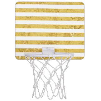 Elegant Gold Foil and White Stripe Pattern Mini Basketball Hoop