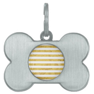 Elegant Gold Foil and White Stripe Pattern Pet ID Tag