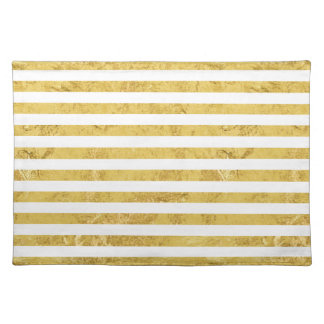 Elegant Gold Foil and White Stripe Pattern Placemat