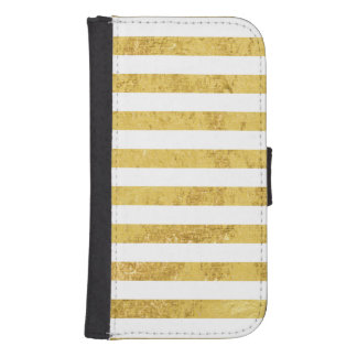 Elegant Gold Foil and White Stripe Pattern Samsung S4 Wallet Case