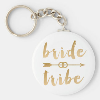 elegant gold foil bride tribe arrow wedding rings basic round button keychain