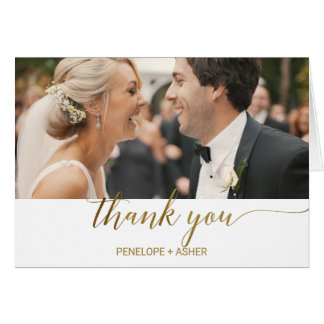 Elegant Gold Foil Calligraphy Photo Thank You Card