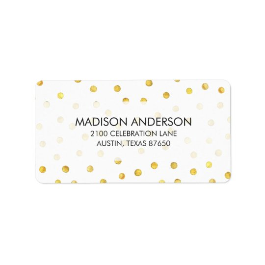 Elegant Gold Foil Confetti Dots Label