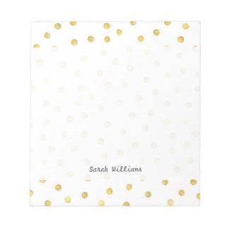 Elegant Gold Foil Confetti Dots Notepad