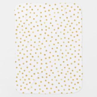 Elegant Gold Foil Confetti Dots Stroller Blanket