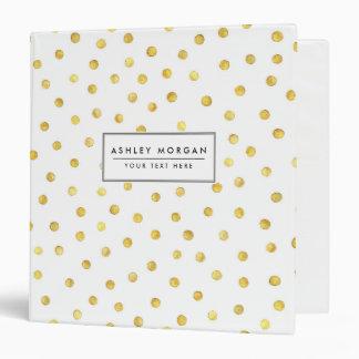 Elegant Gold Foil Confetti Dots Vinyl Binder