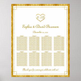 Elegant Gold Foil Heart Frame Weddin Seating Chart Poster