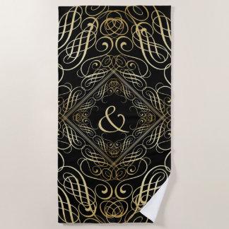 Elegant Gold Foil Look Filigree Scrollwork Black Beach Towel