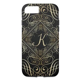 Elegant Gold Foil Look Scrollwork Script on Black iPhone 7 Case
