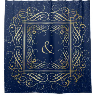 Elegant Gold Foil Look Scrollwork Script on Navy