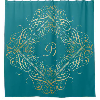 Elegant Gold Foil Look Scrollwork Script on Teal