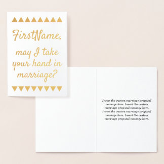 Elegant Gold Foil Marriage Proposal Card
