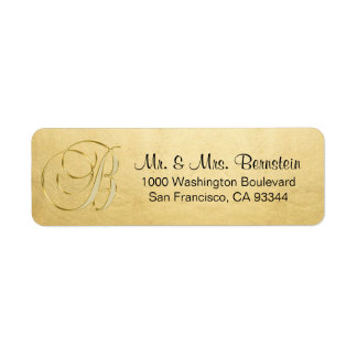 Elegant Gold Foil Monogram Letter B Return Address
