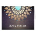 Elegant Gold Foil Ornate Leaf Mandala Wood Card