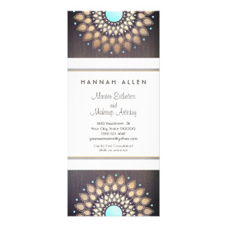 Elegant Gold  Foil Ornate Leaf Mandala Wood LOOK Rack Card