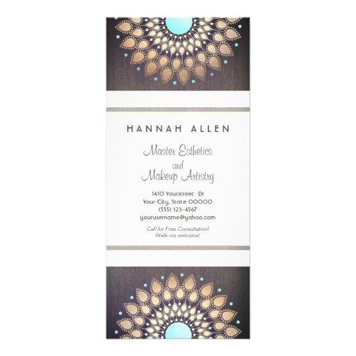 Elegant Gold  Foil Ornate Leaf Mandala Wood LOOK Custom Rack Card