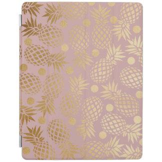 elegant gold foil pineapple polka dots pattern iPad cover