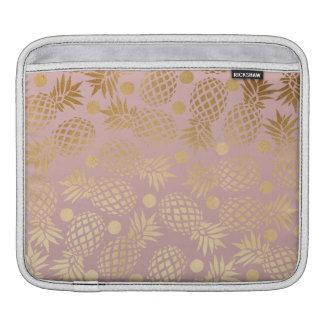 elegant gold foil pineapple polka dots pattern iPad sleeve