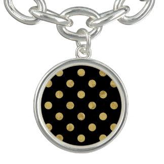 Elegant Gold Foil Polka Dot Pattern - Gold & Black Bracelet