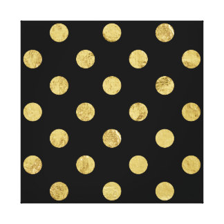 Elegant Gold Foil Polka Dot Pattern - Gold & Black Canvas Print