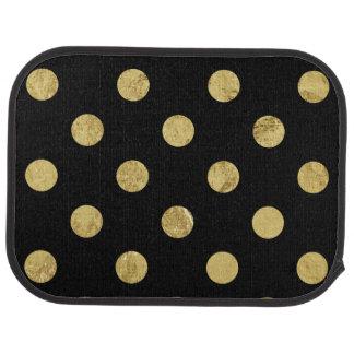 Elegant Gold Foil Polka Dot Pattern - Gold & Black Car Floor Carpet