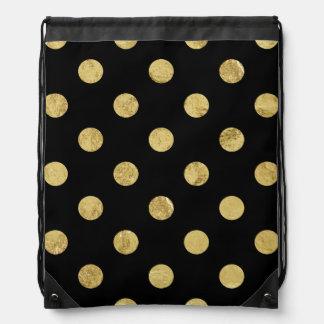 Elegant Gold Foil Polka Dot Pattern - Gold & Black Drawstring Bag