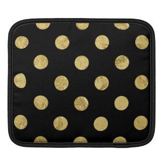 Elegant Gold Foil Polka Dot Pattern - Gold & Black iPad Sleeves