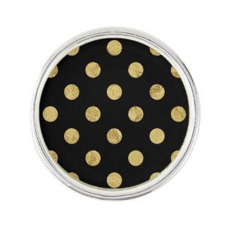 Elegant Gold Foil Polka Dot Pattern - Gold & Black Lapel Pin