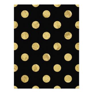 Elegant Gold Foil Polka Dot Pattern - Gold & Black Letterhead