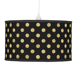Elegant Gold Foil Polka Dot Pattern - Gold & Black Pendant Lamp