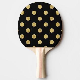 Elegant Gold Foil Polka Dot Pattern - Gold & Black Ping Pong Paddle