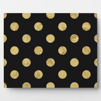 Elegant Gold Foil Polka Dot Pattern - Gold & Black Plaque
