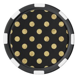 Elegant Gold Foil Polka Dot Pattern - Gold & Black Poker Chips