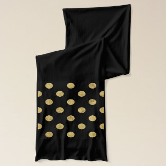 Elegant Gold Foil Polka Dot Pattern - Gold & Black Scarf