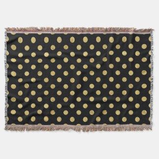 Elegant Gold Foil Polka Dot Pattern - Gold & Black Throw Blanket