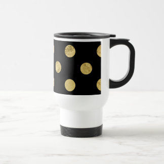 Elegant Gold Foil Polka Dot Pattern - Gold & Black Travel Mug
