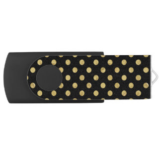 Elegant Gold Foil Polka Dot Pattern - Gold & Black USB Flash Drive