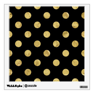 Elegant Gold Foil Polka Dot Pattern - Gold & Black Wall Decal