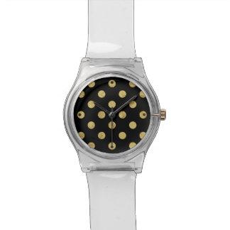 Elegant Gold Foil Polka Dot Pattern - Gold & Black Watch